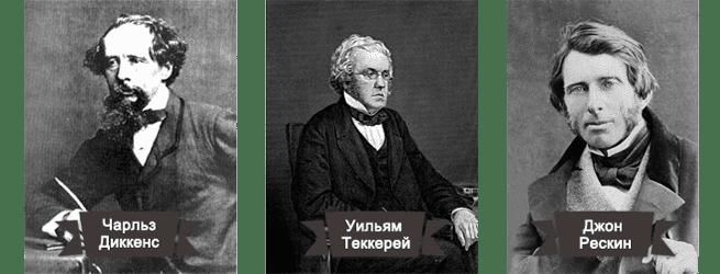 Английские писатели Диккенс, Текерей, Рескин