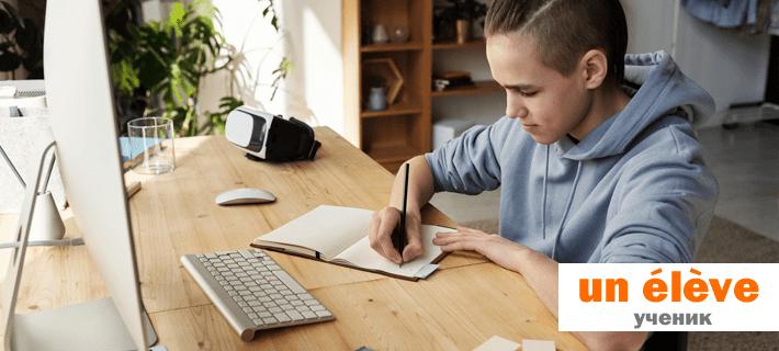 Ученик перед компьютером изучает имя существительное во французском языке